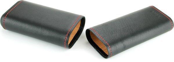 Siglo skórzane etui czarne z czerwonym szwem