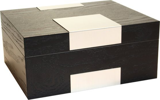 Humidor Real Wood Veneer Black Frosted