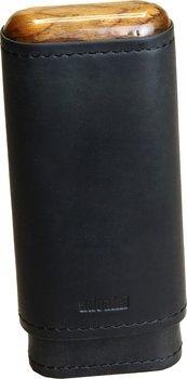 Czarna skórzana cygarniczka Adorini z drewnianą górą na 2-3 cygara