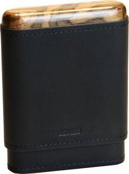 Czarne etui Adorini na 3-5 cygar, z prawdziwej skóry oraz drewnianą górą i dołem