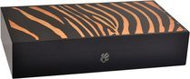 Elie Bleu Safari Zebra Marquetry 110-Cigar Humidor Orange
